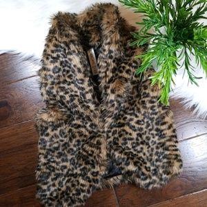 EUC Cherokee Faux Leopard Fur Vest